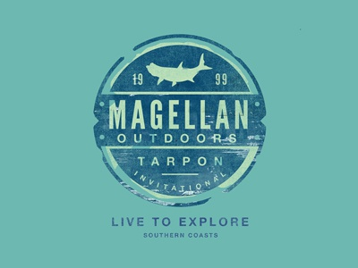 Magellan Outdoors Badge apparel t-shirt tee badge explore vintage rugged expedition fishing coast outdoors