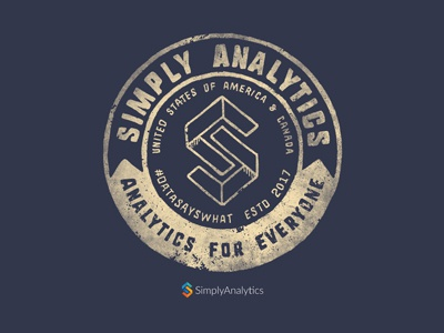 Simply Analytics Badge software data marketing distressed texture sketch technology analytics hand drawn branding badge