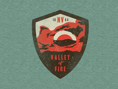 Valley of Fire patch hand drawn vector texture typography state park usa outdoors vintage branding design apparel badge
