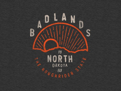 Badlands | Rough Rider State texture lettering typography outdoors badge hand drawn branding logo vintage graphic illistration apparel tee design tee