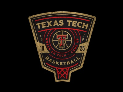 Texas Tech Basketball tee collegiate ncaa basketball type patch texture badge illustration apparel vintage branding