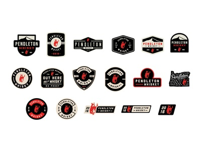 Pendleton Whisky Pin/Patch Designs typography apparel patch logo spirits alcohol whiskey pin badge branding