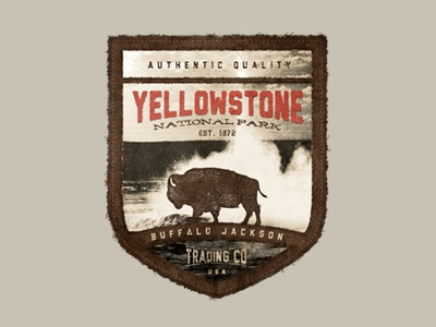 Yellowstone patch badge park outdoors logo branding photoshop cannon buffalo goods authentic quality