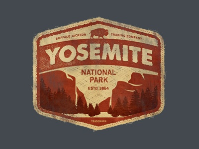 Yosemite vintage apparel authentic goods park outdoors logo branding badge patch