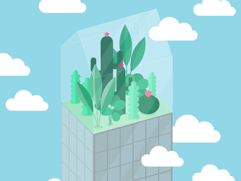 Greenhous on the Rooftop greenhouse plants drawing illustrator cc vector illustration