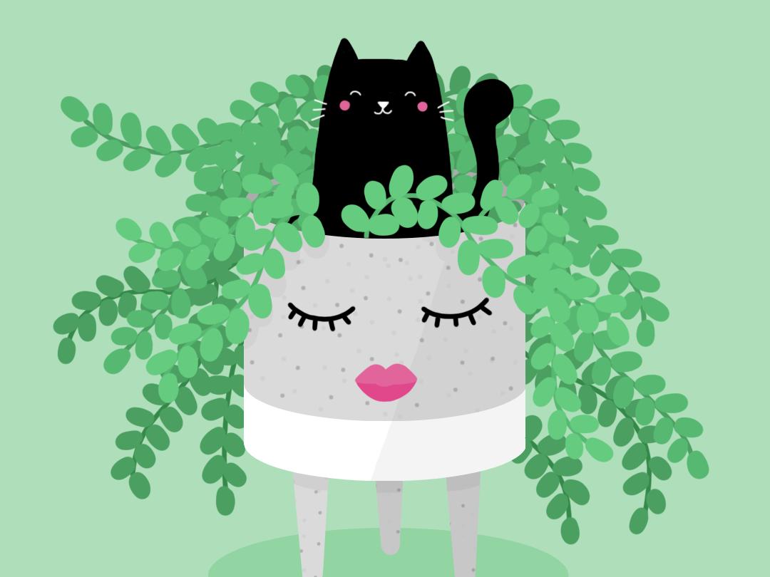 Plant Lady cat photoshop plants drawing illustration