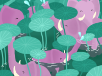 Pink elephants in a lotus pond