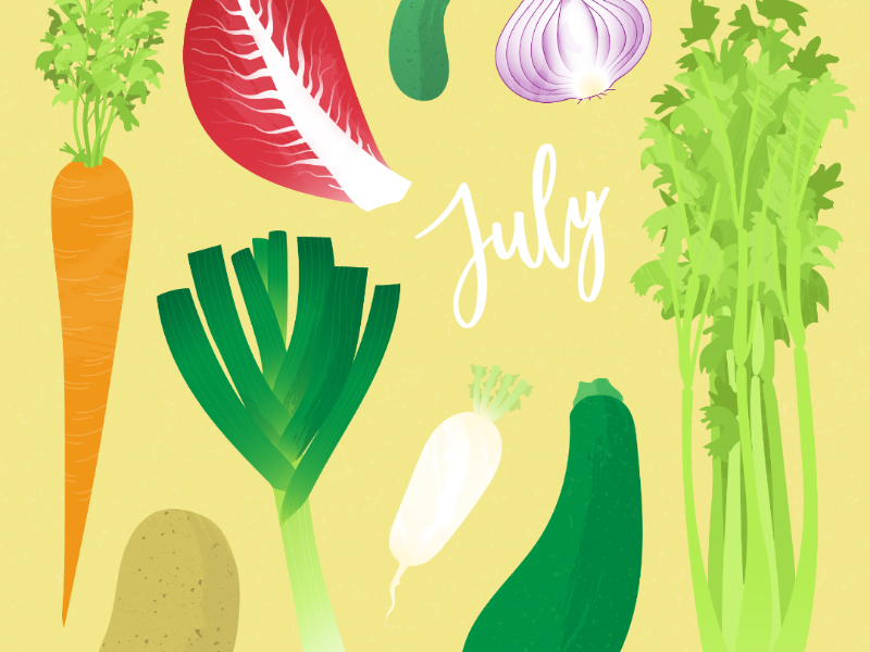 Seasonal veggies of July textures digital illustration eat local sustainability seasonal food adobe illustrator illustration