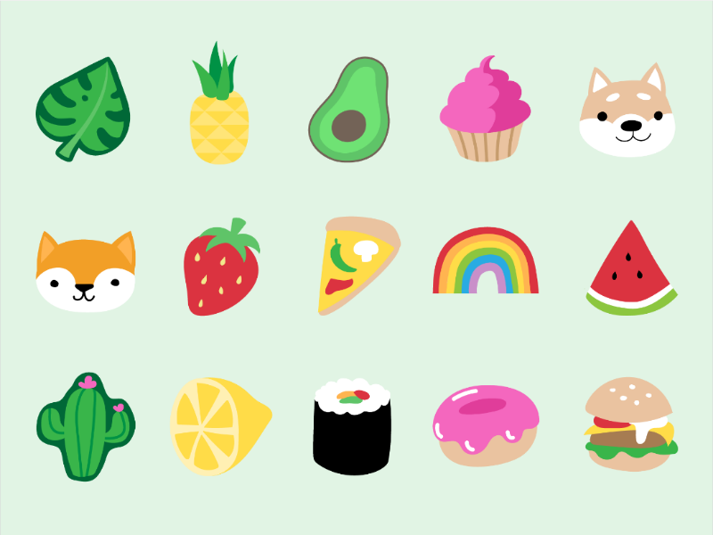Pin ideas animals plants food vector icons stickers emoji logos flat design pins icons digital illustration adobe illustrator illustrator