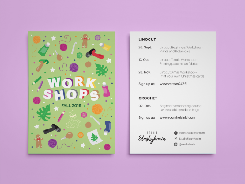 Workshop Postcard graphic design postcard icons typography workshop digital drawing digital illustration adobe illustrator illustration