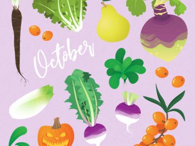 Seasonal fruits and veggies of October