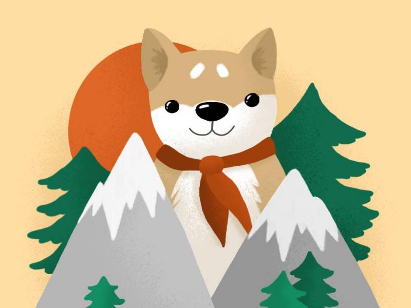 Shiba in the Mountains kawaii adventure mountains dog digital illustration