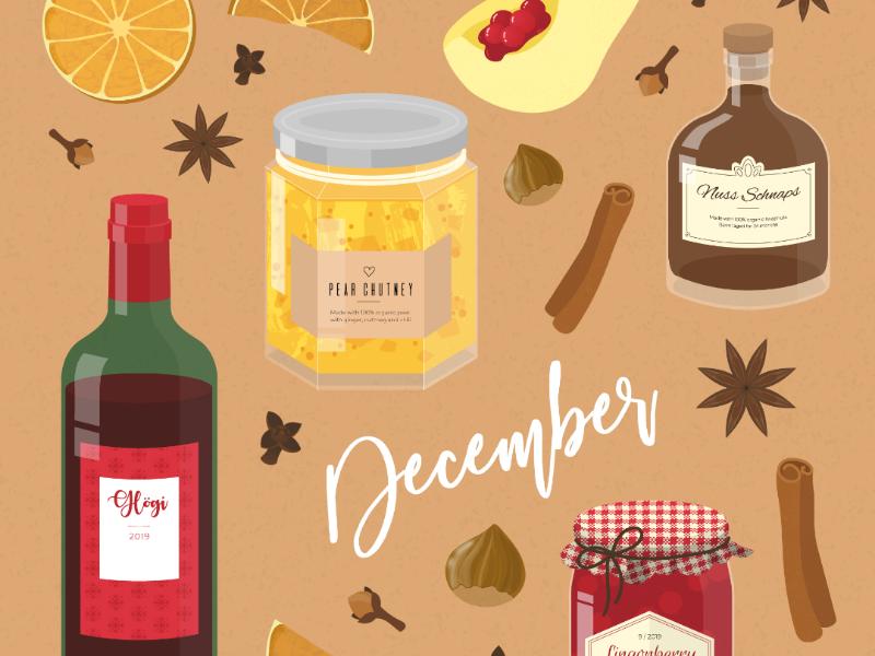 Seasonal foods of December preserves sustainability digital drawing christmas seasonal food digital illustration adobe illustrator