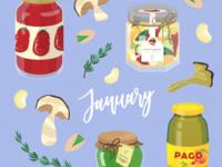 Seasonal vegetables of January - Italian preserved food edition