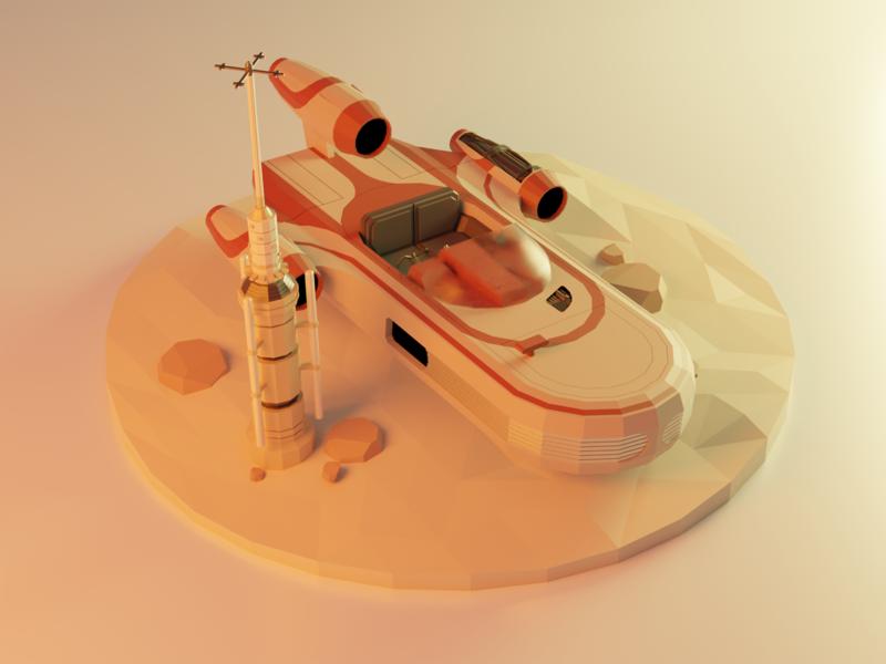 Low Poly - Tatooine tatooine mars isometry lowpoly blender 3d