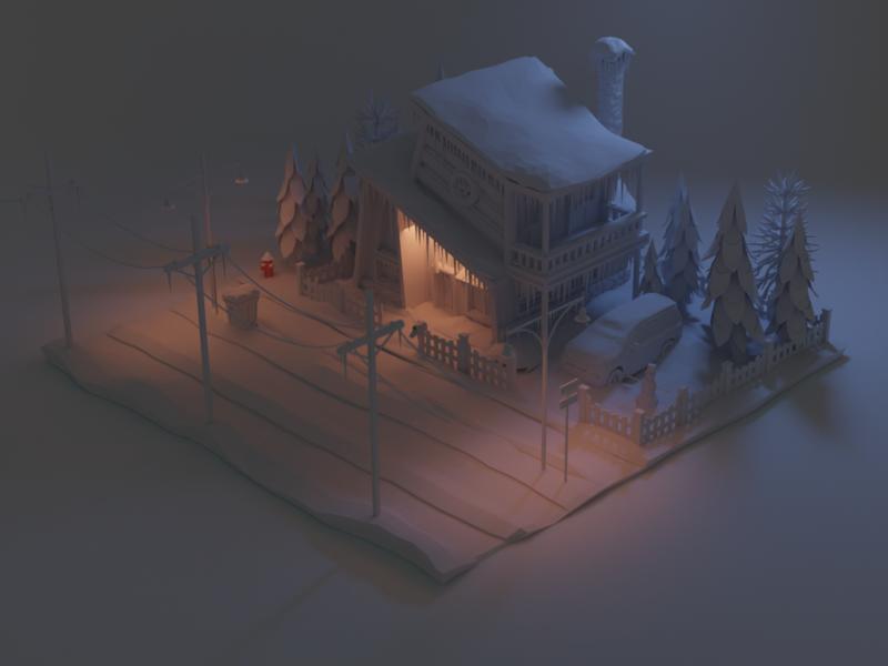 Winter illustration winter isometry lowpoly blender 3d