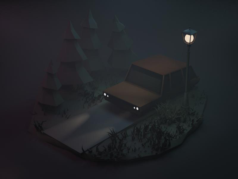 Myst Forrest illustration lowpoly blender 3d