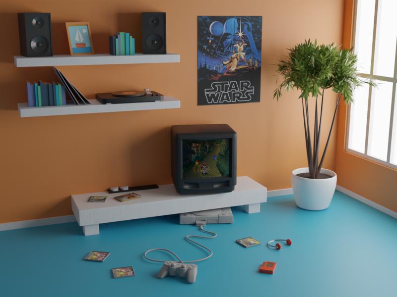 Playstation cute blender3d isometry illustration blender 3d