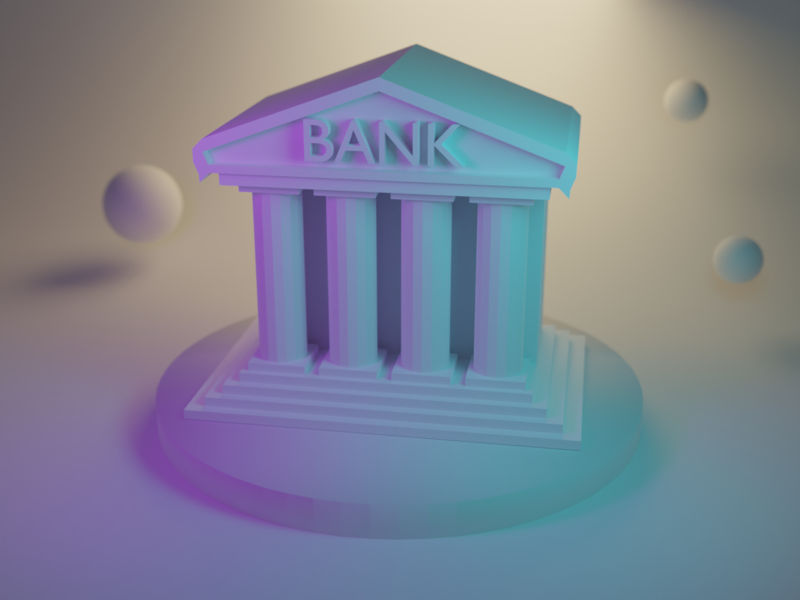 Bank Ill synthwave lowpoly isometry illustration blender 3d