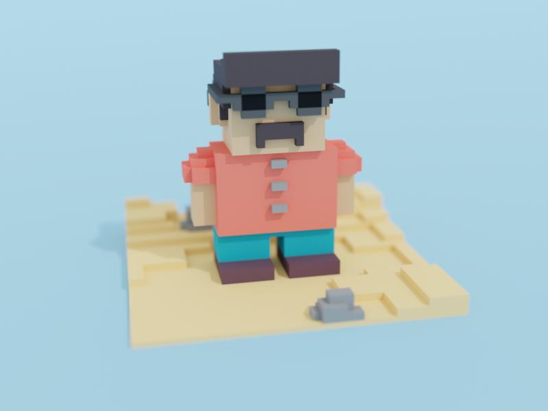 Tourist voxelart voxel cinema4d blender3d isometry illustration blender 3d