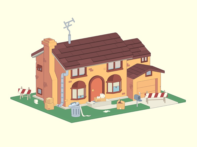 Simpson's house. Stay home edition toilet paper cute illustration 3d vector adobe illustrator stayhome quarantinelife quarantine illustration isometric illustration isometric isometry house simpsons