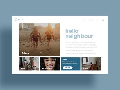 Venn Neighbohrood Homepage community neigbors web design neighborhood homepage ui homepage website
