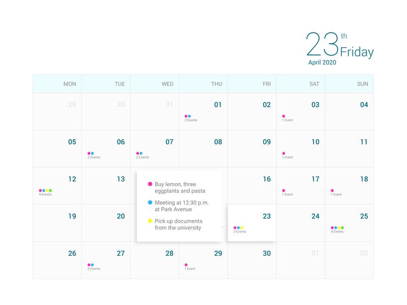Daily UI Challenge #038 event calendar design calendar ui calendar web web design ux ui design