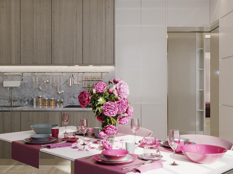 Interior kitchen-dining room interiors interior design interior corona renderer corona render cgi cgart 3ds max 3dsmax 3d