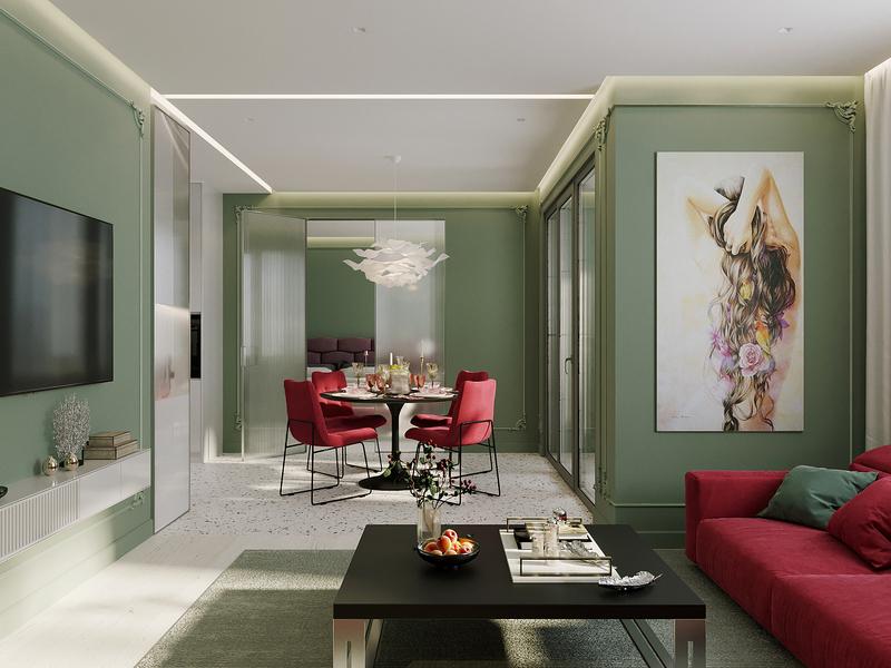 Living room in two-room apartment design photoshop interiors interior design interior corona renderer corona render cgi cgart 3ds max 3dsmax 3d
