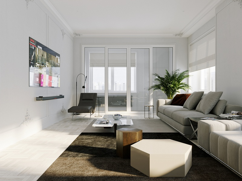Living room in a three-room apartment photoshop cgartist design interiors interior design interior corona renderer corona render cgi cgart 3ds max 3dsmax 3d