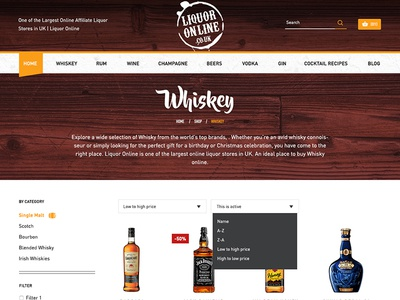 Product Listing Page for Liquor Online