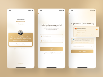 Reach - Connect to your favorite Content Creators ux design royal luxury payment user inteface user experience ui uxui ux mobile ui design product design product mobile app design mobile application application app mobile app mobile design mobile