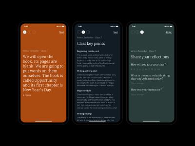 Flow / Finish the class mobile design mobile app mobile uxdesign uidesign ux uiux ui ios app ios editorial design editorial minimalism minimal royal luxury app design app product design product