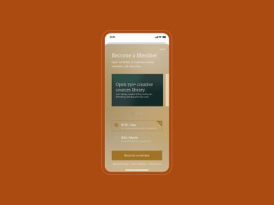 Screen / Become a member paywall modern app minimalistic minimalism modern luxury app royal luxury ui design mobile app design mobile app mobile design product design product design minimal mobile ux design ux ui