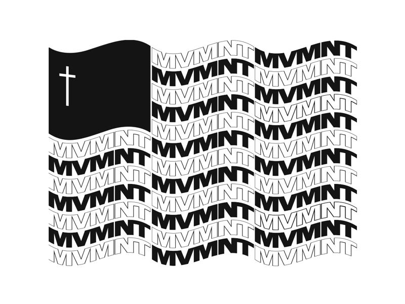 MVMNT Flag identity brand cross wordmark logo logo design typography student ministry church graphic adobe illustrator illustrator graphic designs