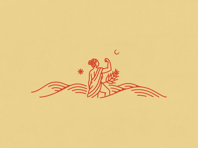 Breana's Toast lanscape nature woman logo woman wheat organic logo branding design illustration