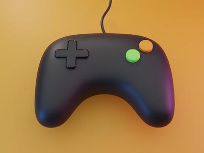 Retro Joypad graphic design 3d video game blender retro