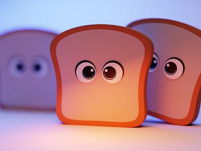 Oven Horror Stories animation toast cute blender 3d