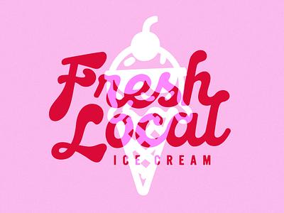 Rebrand –Fresh Local Ice Cream visual identity badge illustrator design logo design logo brand identity brand design identity design branding branding and identity