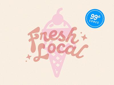 Rebrand – Fresh Local Ice Cream badge typography visual identity illustration design logo design logo brand identity brand design branding identity design branding and identity