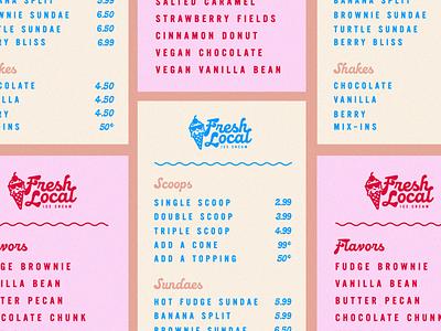 Menu for Rebrand – Fresh Local Ice Cream typography visual identity layout design logo design logo brand identity brand design branding identity design branding and identity menu