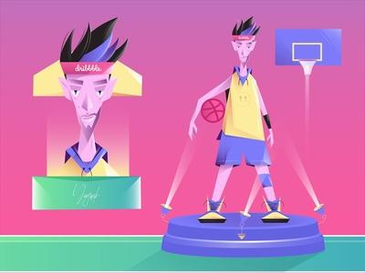 Hello Dribble! characterdesign hello dribble flat vector illustration