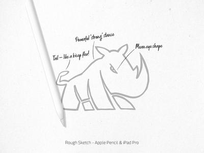 Rhino Lifting Logo - iPad Pro initial sketch