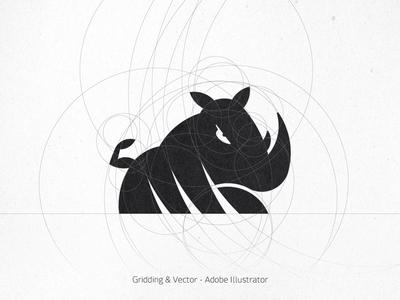 Rhino Lifting Logo - gridding and vector