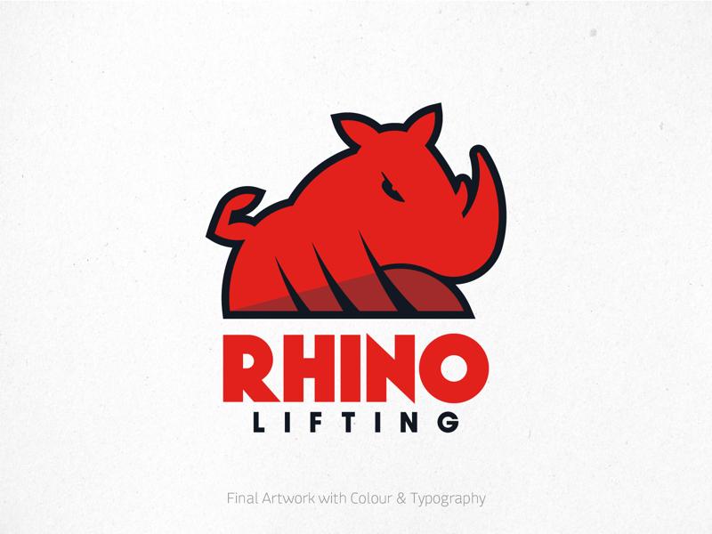 Rhino Lifting Logo - final mark and typography lockup typography type vector illustrator adobe bodybuilding fitness gym lifting rhino branding brand logo