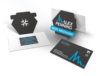 Custom cut folding business cards for Alex Penning