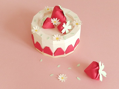 Stawberry cake paperfood