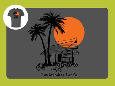 Beach Hut & Bikes screenprint vector design illustration