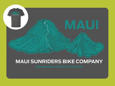 Haleakala Volcano screen print design illustration