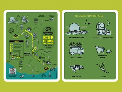 Bike Down Haleakala map illustration vector illustration branding design